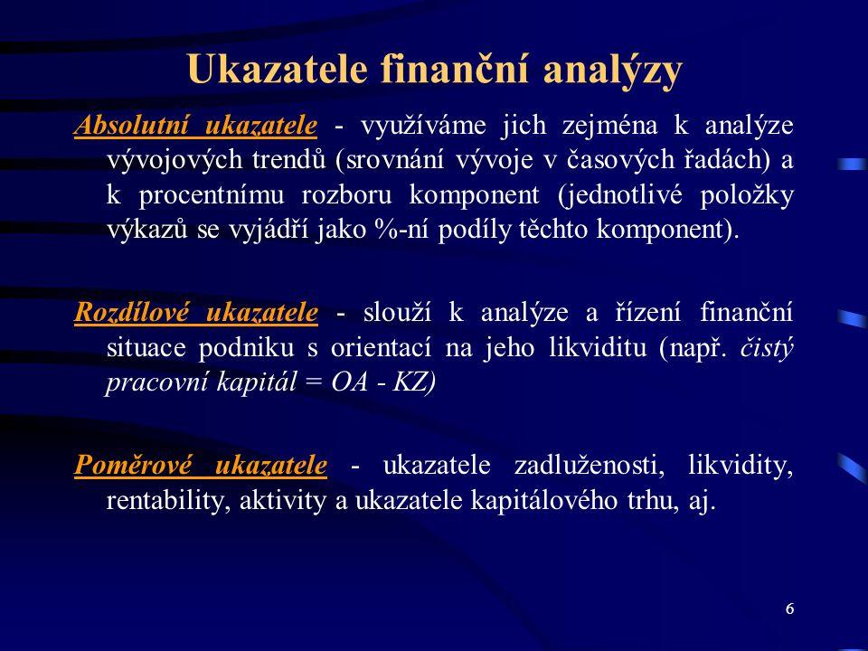 17 Index IN01 IN01 = 0,13 x A/CZ + 0,04 x EBIT/Ú + 3,92 x EBIT/A + 0,21 x VÝN/A + 0,09 x OA/(KZ+KBÚ) V případě, že hodnota indexu je větší než 1,77 znamená, že podnik tvoří hodnotu a hodnota indexu IN01 menší než 0,75 znamená, že podnik spěje k bankrotu.