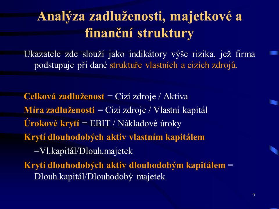8 Analýza likvidity Likvidita vyjadřuje schopnost podniku hradit své závazky.