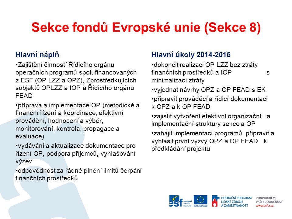 Sekce fondů Evropské unie (Sekce 8) Hlavní náplň Zajištění činností Řídicího orgánu operačních programů spolufinancovaných z ESF (OP LZZ a OPZ), Zprostředkujících subjektů OPLZZ a IOP a Řídicího orgánu FEAD příprava a implementace OP (metodické a finanční řízení a koordinace, efektivní provádění, hodnocení a výběr, monitorování, kontrola, propagace a evaluace) vydávání a aktualizace dokumentace pro řízení OP, podpora příjemců, vyhlašování výzev odpovědnost za řádné plnění limitů čerpání finančních prostředků Hlavní úkoly 2014-2015 dokončit realizaci OP LZZ bez ztráty finančních prostředků a IOP s minimalizací ztráty vyjednat návrhy OPZ a OP FEAD s EK připravit prováděcí a řídicí dokumentaci k OPZ a k OP FEAD zajistit vytvoření efektivní organizační a implementační struktury sekce a OP zahájit implementaci programů, připravit a vyhlásit první výzvy OPZ a OP FEAD k předkládání projektů