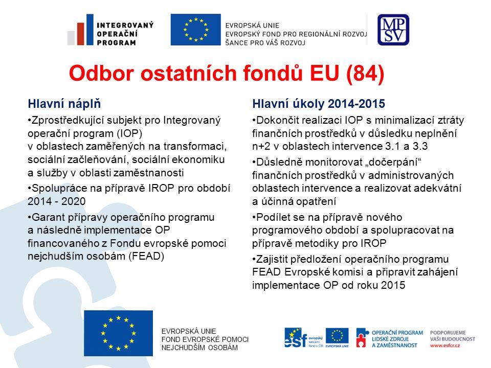 """Odbor ostatních fondů EU (84) Hlavní náplň Zprostředkující subjekt pro Integrovaný operační program (IOP) v oblastech zaměřených na transformaci, sociální začleňování, sociální ekonomiku a služby v oblasti zaměstnanosti Spolupráce na přípravě IROP pro období 2014 - 2020 Garant přípravy operačního programu a následně implementace OP financovaného z Fondu evropské pomoci nejchudším osobám (FEAD) Hlavní úkoly 2014-2015 Dokončit realizaci IOP s minimalizací ztráty finančních prostředků v důsledku neplnění n+2 v oblastech intervence 3.1 a 3.3 Důsledně monitorovat """"dočerpání finančních prostředků v administrovaných oblastech intervence a realizovat adekvátní a účinná opatření Podílet se na přípravě nového programového období a spolupracovat na přípravě metodiky pro IROP Zajistit předložení operačního programu FEAD Evropské komisi a připravit zahájení implementace OP od roku 2015 EVROPSKÁ UNIE FOND EVROPSKÉ POMOCI NEJCHUDŠÍM OSOBÁM"""