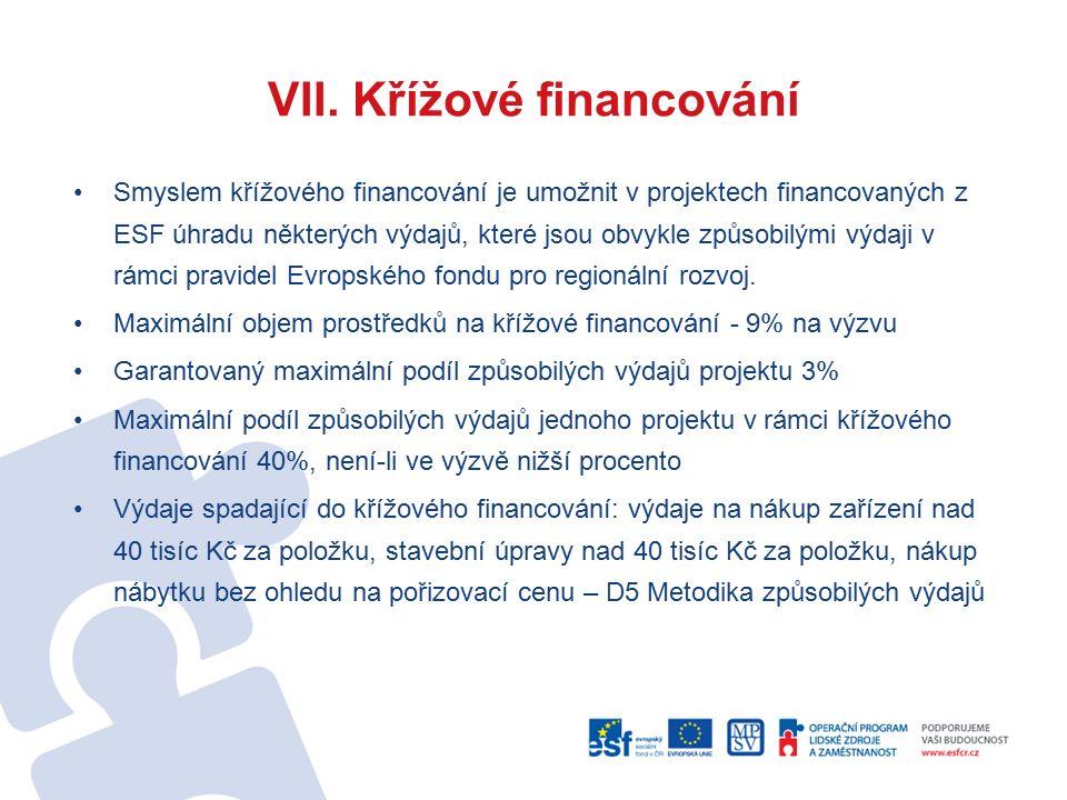 VII. Křížové financování Smyslem křížového financování je umožnit v projektech financovaných z ESF úhradu některých výdajů, které jsou obvykle způsobi