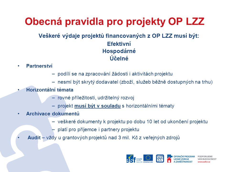 Obecná pravidla pro projekty OP LZZ Veškeré výdaje projektů financovaných z OP LZZ musí být: Efektivní Hospodárné Účelné Partnerství –podílí se na zpracování žádosti i aktivitách projektu –nesmí být skrytý dodavatel (zboží, služeb běžně dostupných na trhu) Horizontální témata –rovné příležitosti, udržitelný rozvoj –projekt musí být v souladu s horizontálními tématy Archivace dokumentů –veškeré dokumenty k projektu po dobu 10 let od ukončení projektu –platí pro příjemce i partnery projektu Audit – vždy u grantových projektů nad 3 mil.