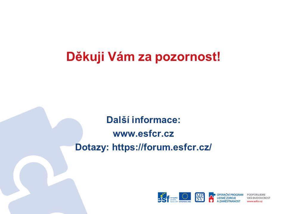 Děkuji Vám za pozornost! Další informace: www.esfcr.cz Dotazy: https://forum.esfcr.cz/
