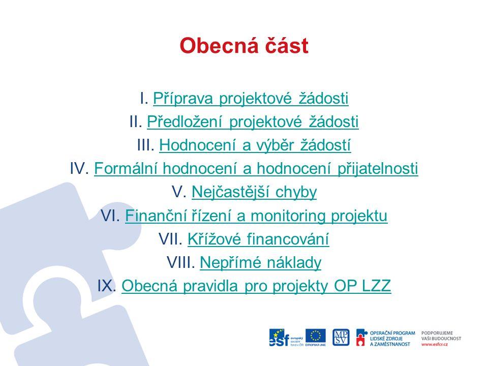 Obecná část I. Příprava projektové žádostiPříprava projektové žádosti II.