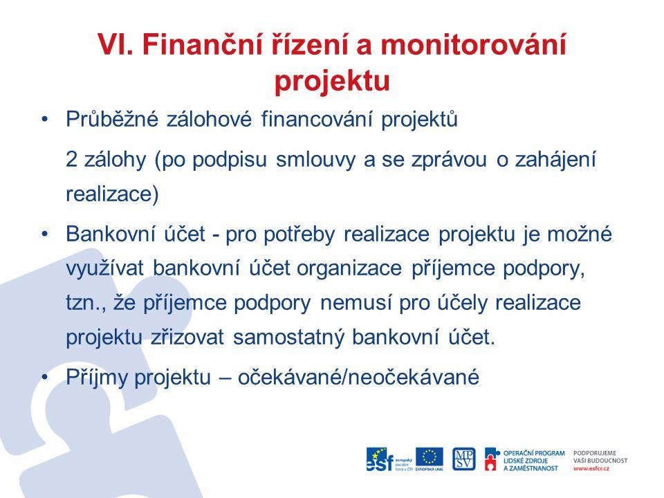 VI. Finanční řízení a monitorování projektu Průběžné zálohové financování projektů 2 zálohy (po podpisu smlouvy a se zprávou o zahájení realizace) Ban