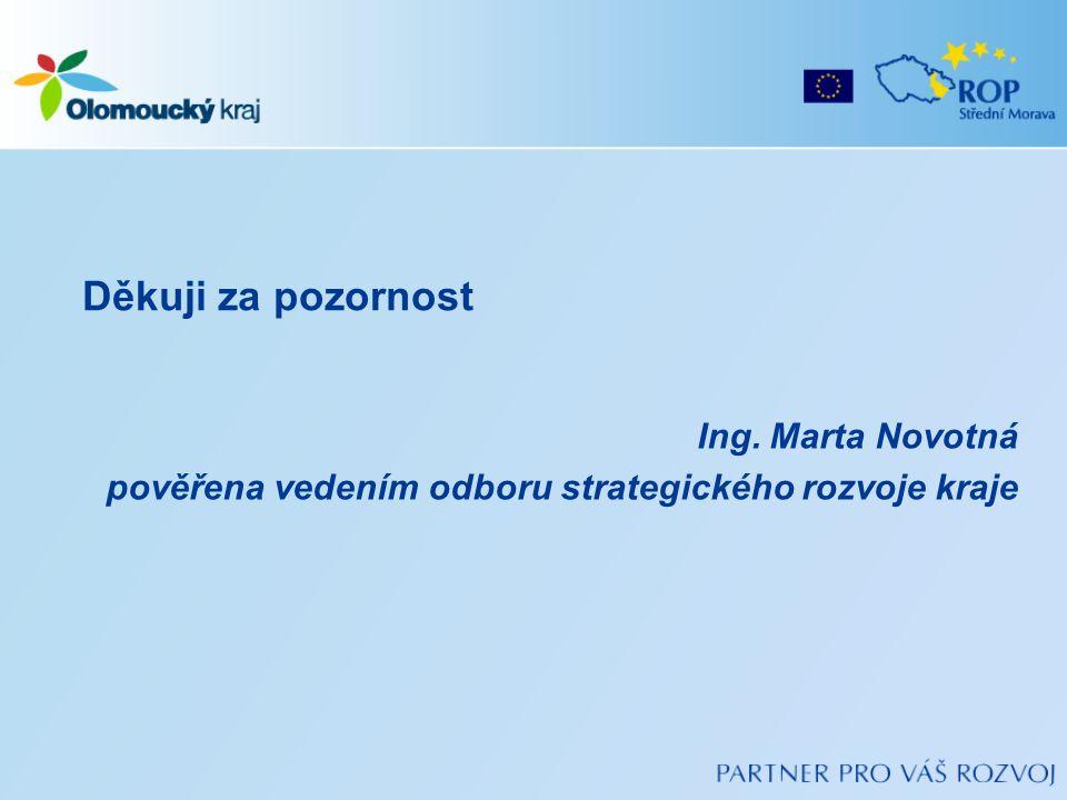 Ing. Marta Novotná pověřena vedením odboru strategického rozvoje kraje Děkuji za pozornost