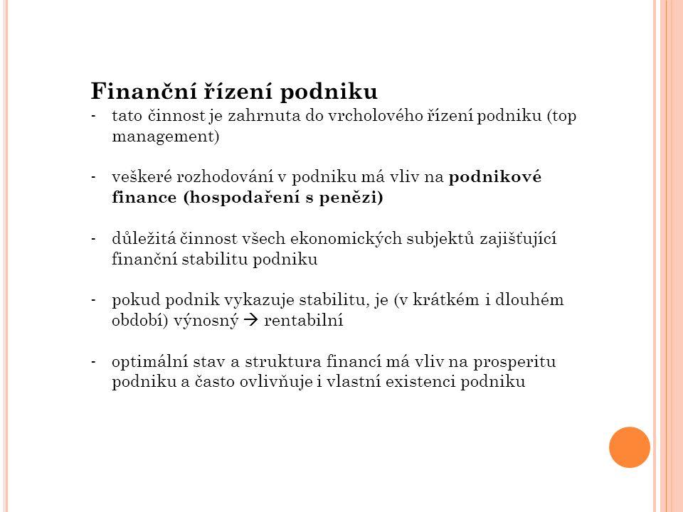 Finanční řízení podniku - tato činnost je zahrnuta do vrcholového řízení podniku (top management) - veškeré rozhodování v podniku má vliv na podnikové finance (hospodaření s penězi) - důležitá činnost všech ekonomických subjektů zajišťující finanční stabilitu podniku - pokud podnik vykazuje stabilitu, je (v krátkém i dlouhém období) výnosný  rentabilní - optimální stav a struktura financí má vliv na prosperitu podniku a často ovlivňuje i vlastní existenci podniku