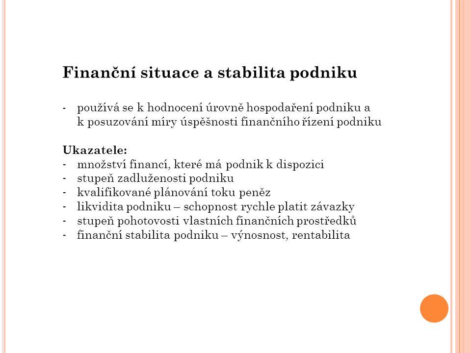 Finanční situace a stabilita podniku -používá se k hodnocení úrovně hospodaření podniku a k posuzování míry úspěšnosti finančního řízení podniku Ukazatele: - množství financí, které má podnik k dispozici - stupeň zadluženosti podniku - kvalifikované plánování toku peněz - likvidita podniku – schopnost rychle platit závazky - stupeň pohotovosti vlastních finančních prostředků - finanční stabilita podniku – výnosnost, rentabilita