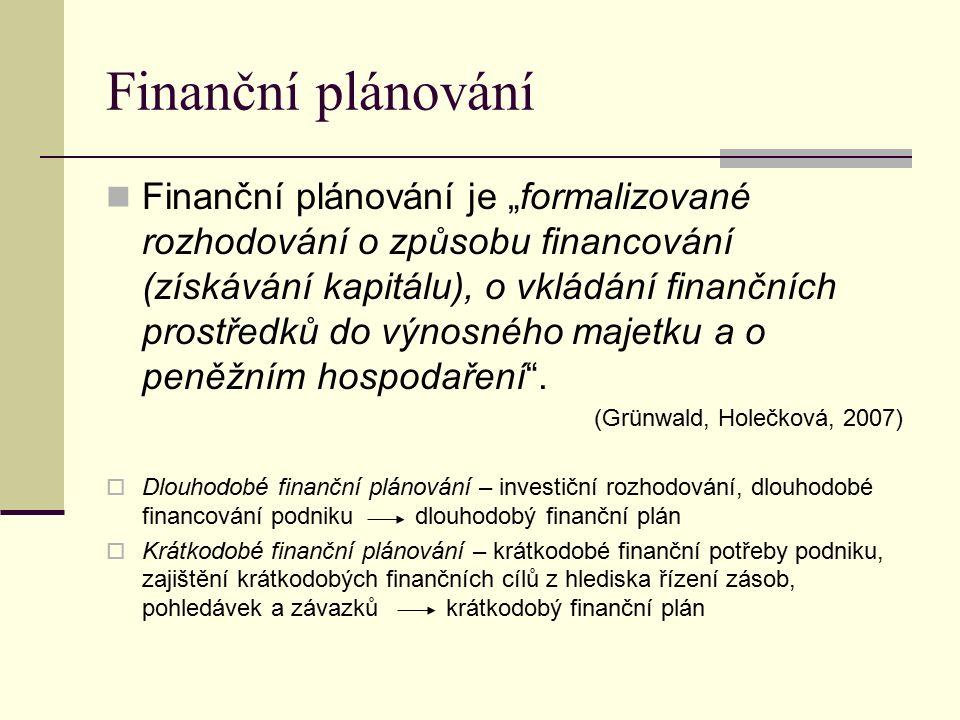 """Finanční plánování Finanční plánování je """"formalizované rozhodování o způsobu financování (získávání kapitálu), o vkládání finančních prostředků do výnosného majetku a o peněžním hospodaření ."""