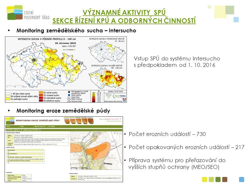 Monitoring zemědělského sucha – Intersucho Monitoring eroze zemědělské půdy VÝZNAMNÉ AKTIVITY SPÚ SEKCE ŘÍZENÍ KPÚ A ODBORNÝCH ČINNOSTÍ Vstup SPÚ do systému Intersucho s předpokladem od 1.