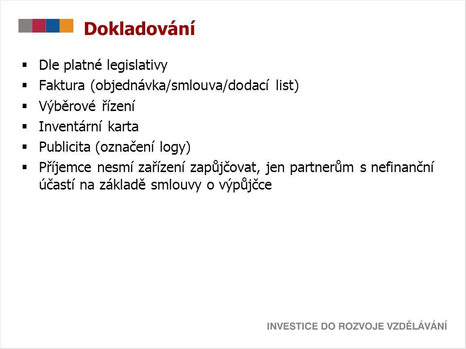 Dokladování  Dle platné legislativy  Faktura (objednávka/smlouva/dodací list)  Výběrové řízení  Inventární karta  Publicita (označení logy)  Pří