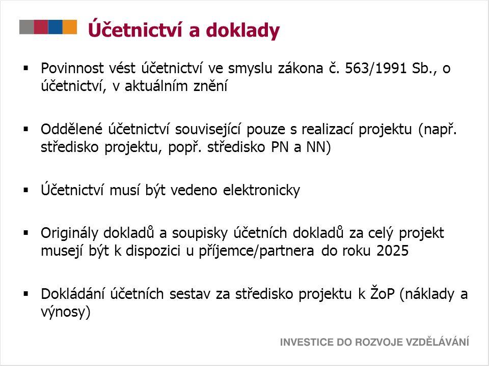 Účetnictví a doklady  Povinnost vést účetnictví ve smyslu zákona č. 563/1991 Sb., o účetnictví, v aktuálním znění  Oddělené účetnictví související p