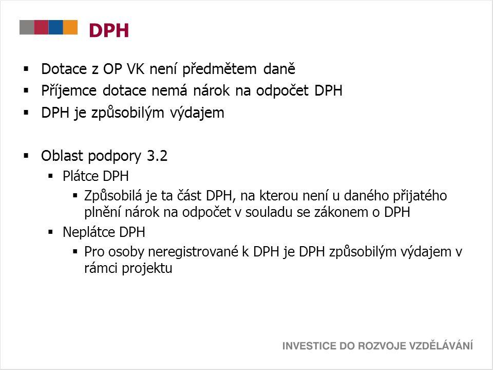 DPH  Dotace z OP VK není předmětem daně  Příjemce dotace nemá nárok na odpočet DPH  DPH je způsobilým výdajem  Oblast podpory 3.2  Plátce DPH  Z