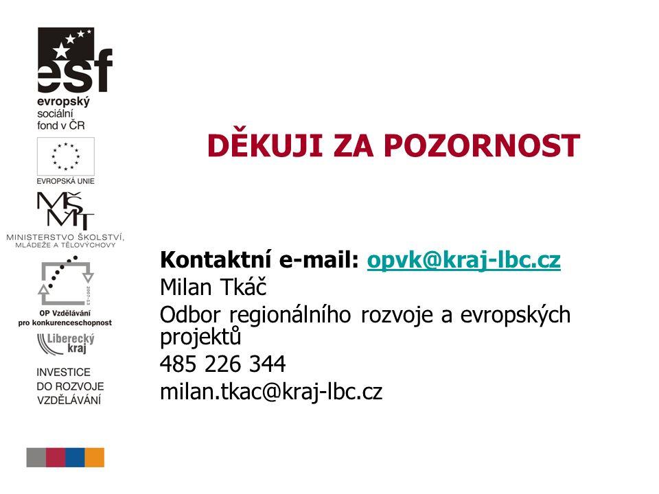 DĚKUJI ZA POZORNOST Kontaktní e-mail: opvk@kraj-lbc.czopvk@kraj-lbc.cz Milan Tkáč Odbor regionálního rozvoje a evropských projektů 485 226 344 milan.t