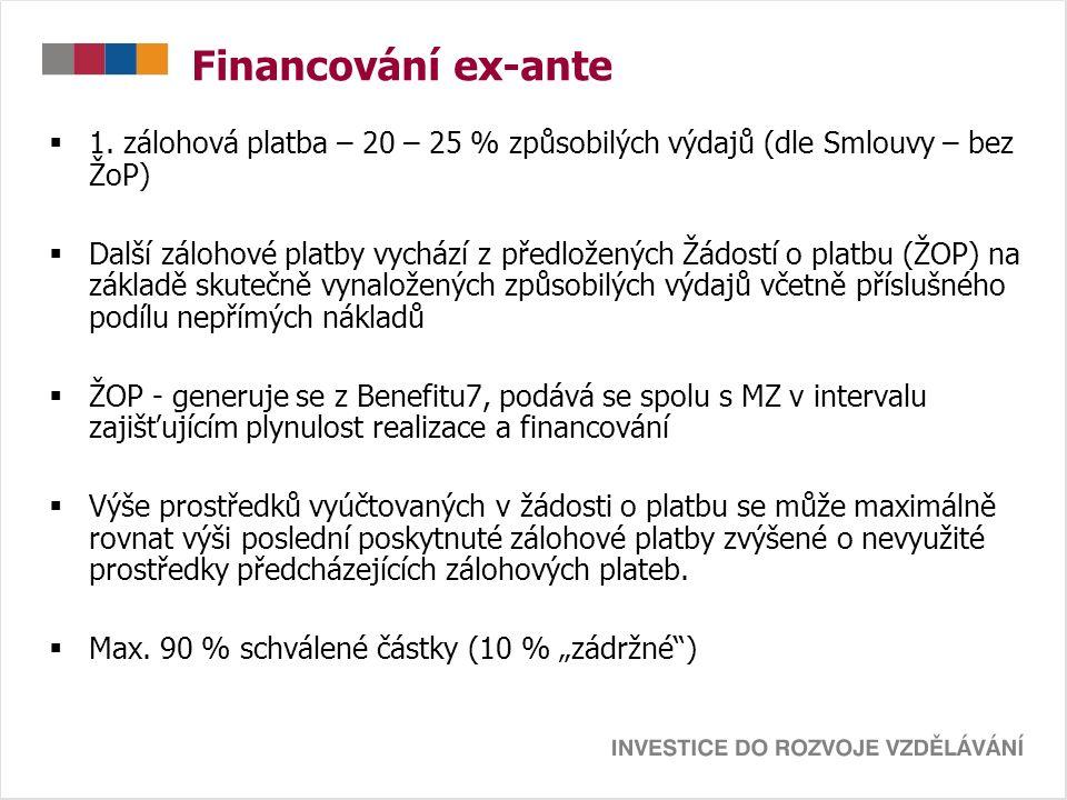 Financování ex-ante  1. zálohová platba – 20 – 25 % způsobilých výdajů (dle Smlouvy – bez ŽoP)  Další zálohové platby vychází z předložených Žádostí