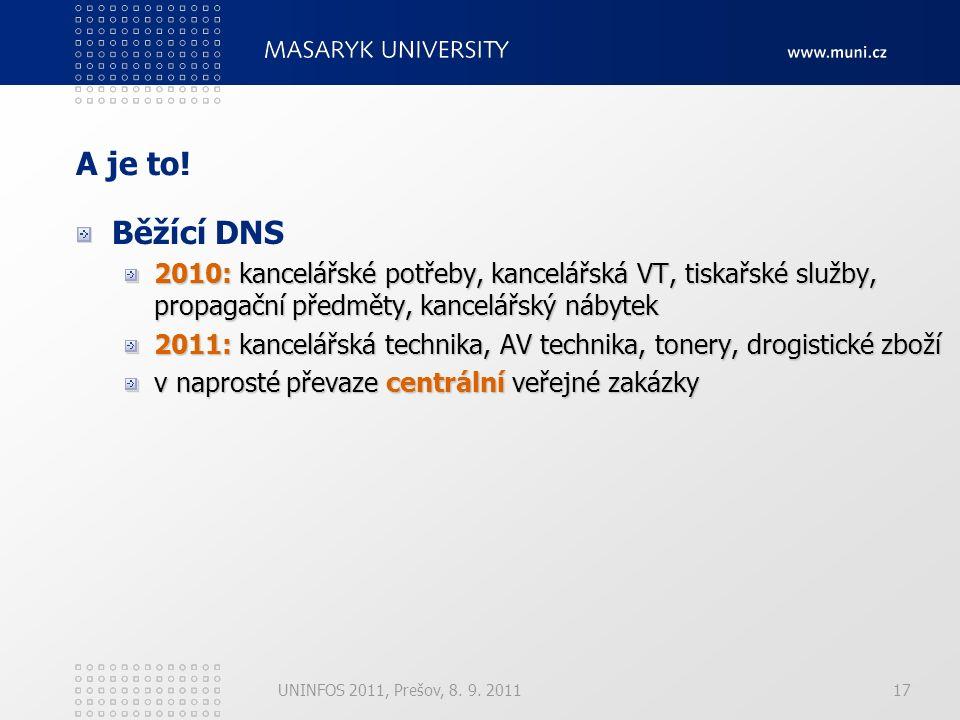 17 A je to! Běžící DNS 2010: kancelářské potřeby, kancelářská VT, tiskařské služby, propagační předměty, kancelářský nábytek 2011: kancelářská technik