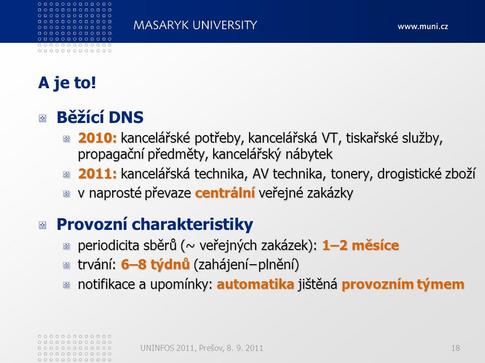 18 A je to! Běžící DNS 2010: kancelářské potřeby, kancelářská VT, tiskařské služby, propagační předměty, kancelářský nábytek 2011: kancelářská technik