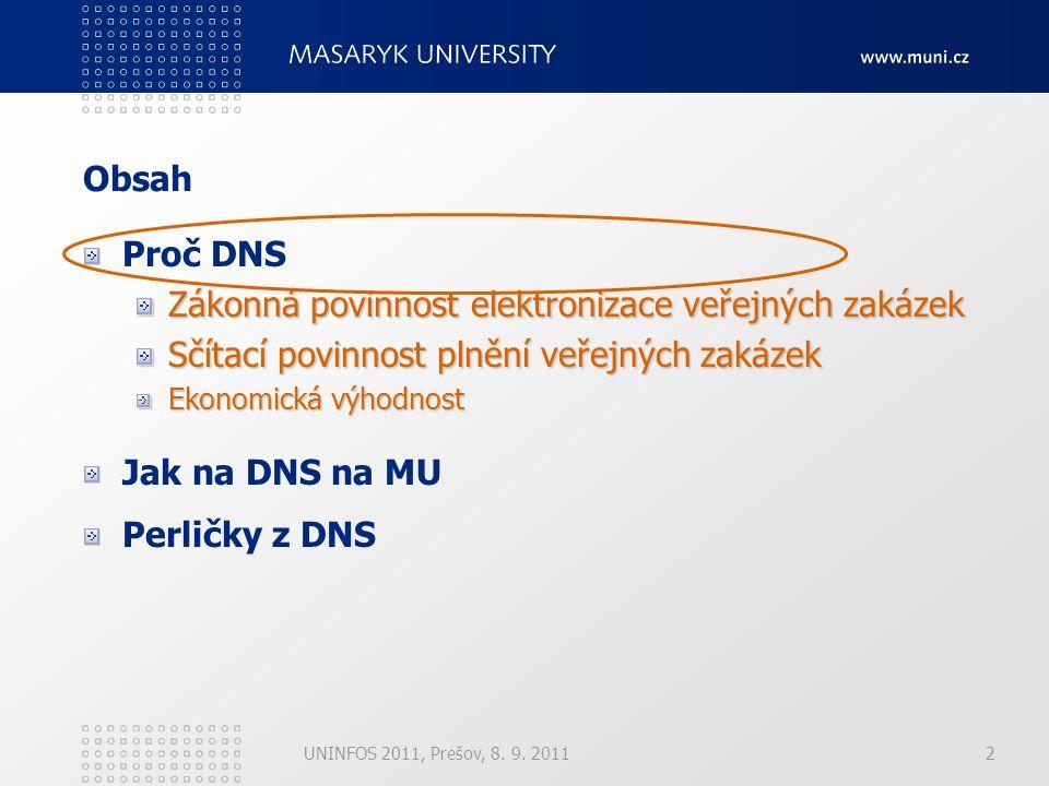 UNINFOS 2011, Prešov, 8. 9. 20112 Obsah Proč DNS Zákonná povinnost elektronizace veřejných zakázek Sčítací povinnost plnění veřejných zakázek Ekonomic