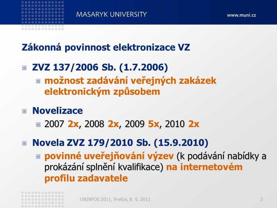 4 Sčítací povinnost plnění VZ Pravidla pro výběr dodavatelů v rámci projektů OP (fakultou) (specifické plnění) zadávání VZ dílčí organizační jednotkou (fakultou) jen v odůvodněných případech (specifické plnění) (univerzitu jako celek) sčítací povinnost plnění za celý subjekt (univerzitu jako celek) UNINFOS 2011, Prešov, 8.