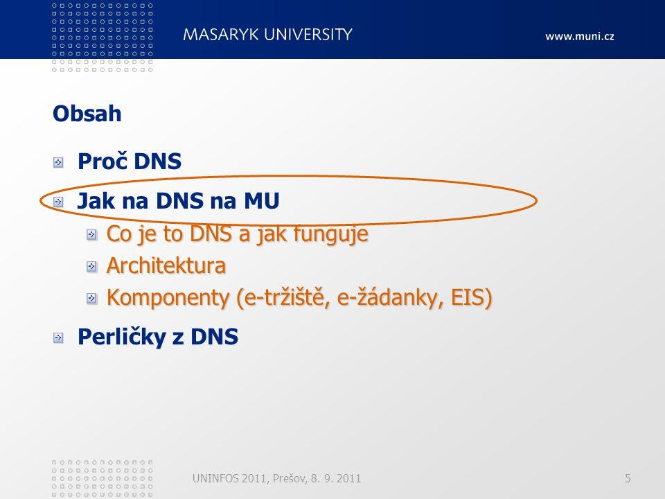 UNINFOS 2011, Prešov, 8. 9. 20115 Obsah Proč DNS Jak na DNS na MU Co je to DNS a jak funguje Architektura Komponenty (e-tržiště, e-žádanky, EIS) Perli