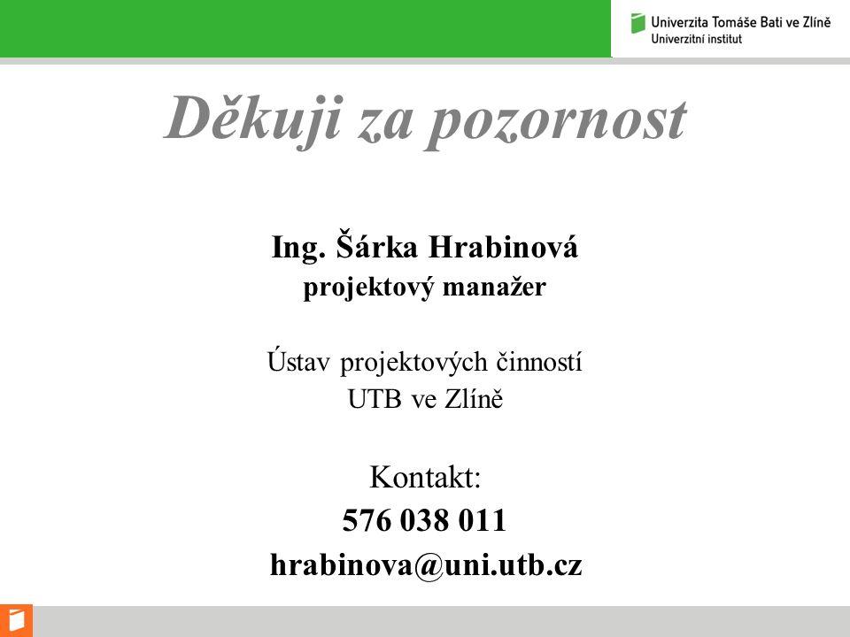 Děkuji za pozornost Ing. Šárka Hrabinová projektový manažer Ústav projektových činností UTB ve Zlíně Kontakt: 576 038 011 hrabinova@uni.utb.cz