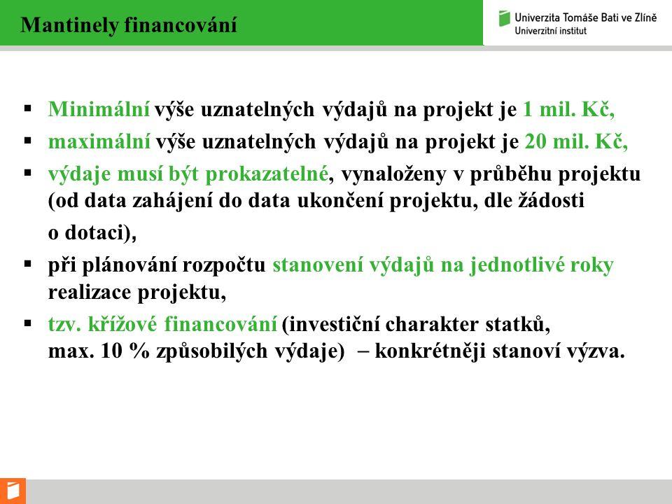 Mantinely financování  Minimální výše uznatelných výdajů na projekt je 1 mil. Kč,  maximální výše uznatelných výdajů na projekt je 20 mil. Kč,  výd