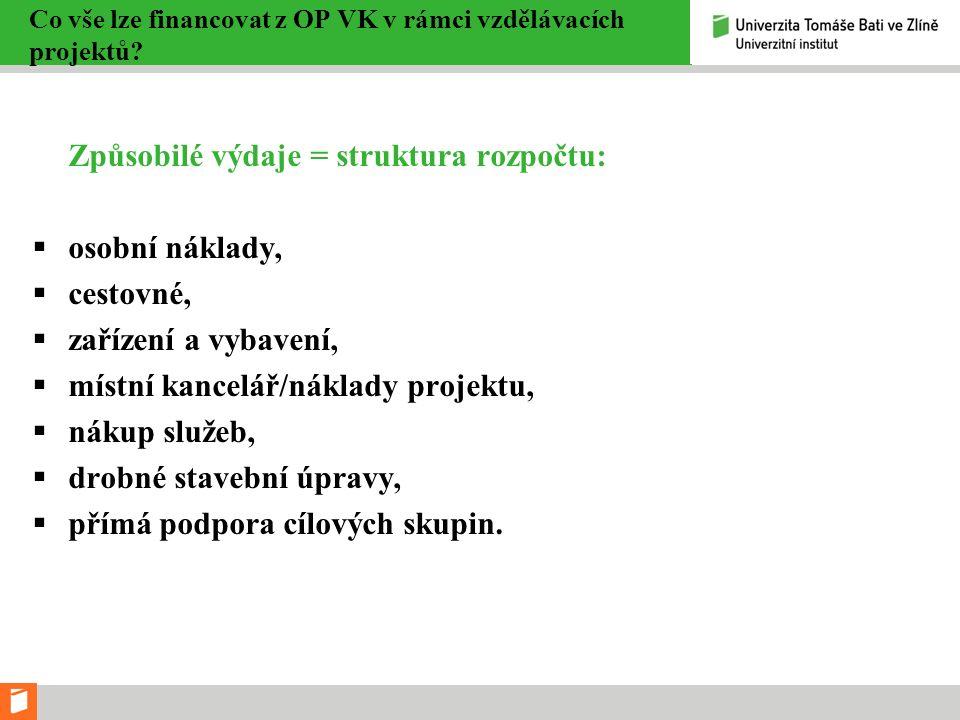 Co vše lze financovat z OP VK v rámci vzdělávacích projektů.