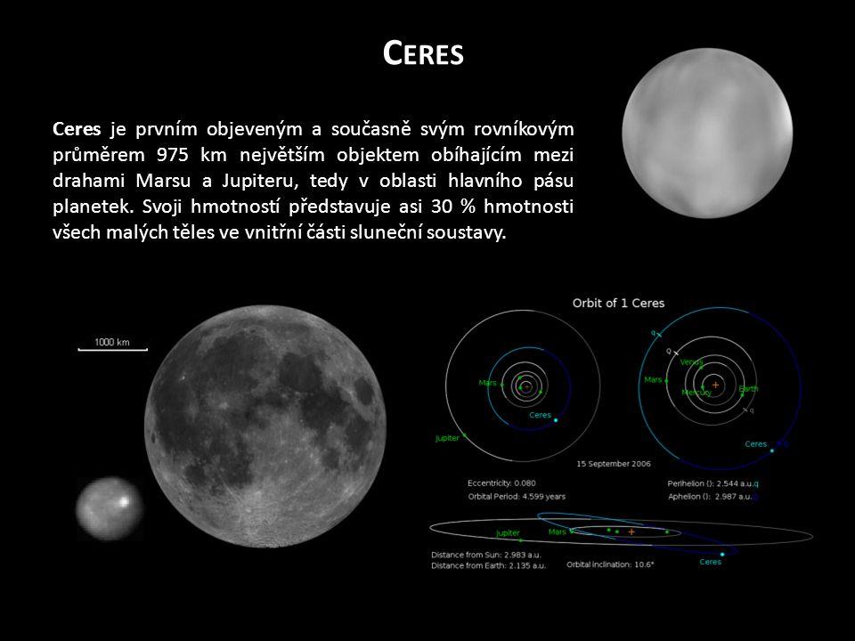 C ERES Ceres je prvním objeveným a současně svým rovníkovým průměrem 975 km největším objektem obíhajícím mezi drahami Marsu a Jupiteru, tedy v oblasti hlavního pásu planetek.
