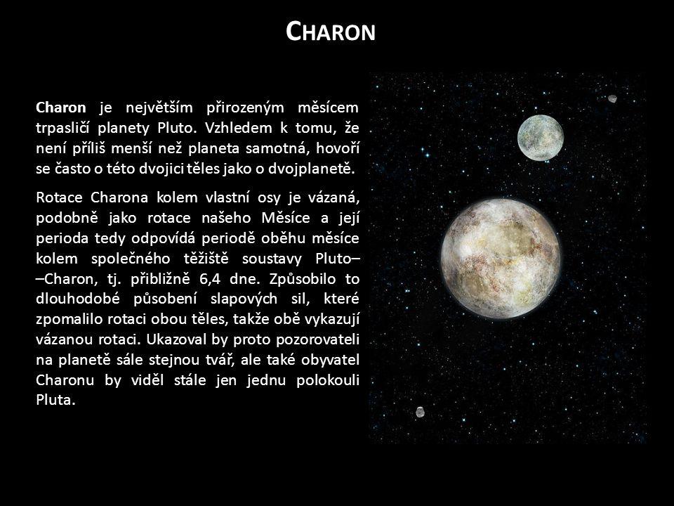 Charon je největším přirozeným měsícem trpasličí planety Pluto.