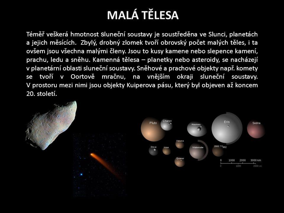 MALÁ TĚLESA Téměř veškerá hmotnost s luneční soustavy je soustředěna ve Slunci, planetách a jejich měsících.
