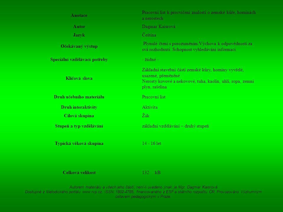 Anotace Pracovní list k procvičení znalostí o zemské kůře, horninách a nerostech AutorDagmar Kaisrová JazykČeština Očekávaný výstup Plynulé čtení s po