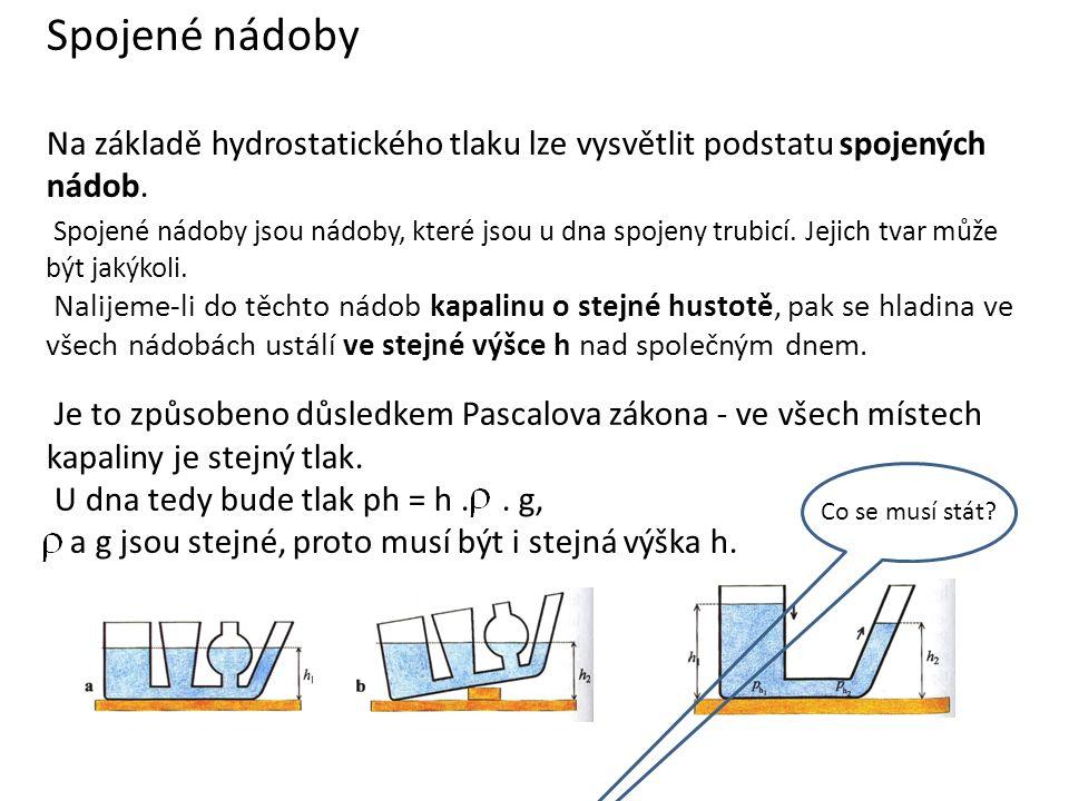 Spojené nádoby Na základě hydrostatického tlaku lze vysvětlit podstatu spojených nádob.