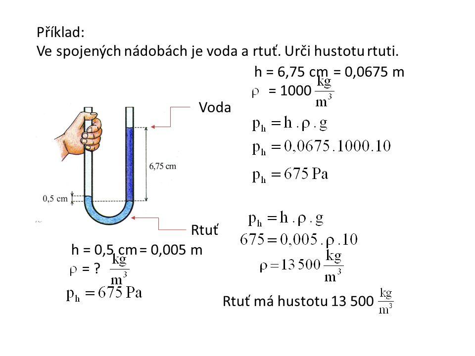 Příklad: Ve spojených nádobách je voda a rtuť. Urči hustotu rtuti.
