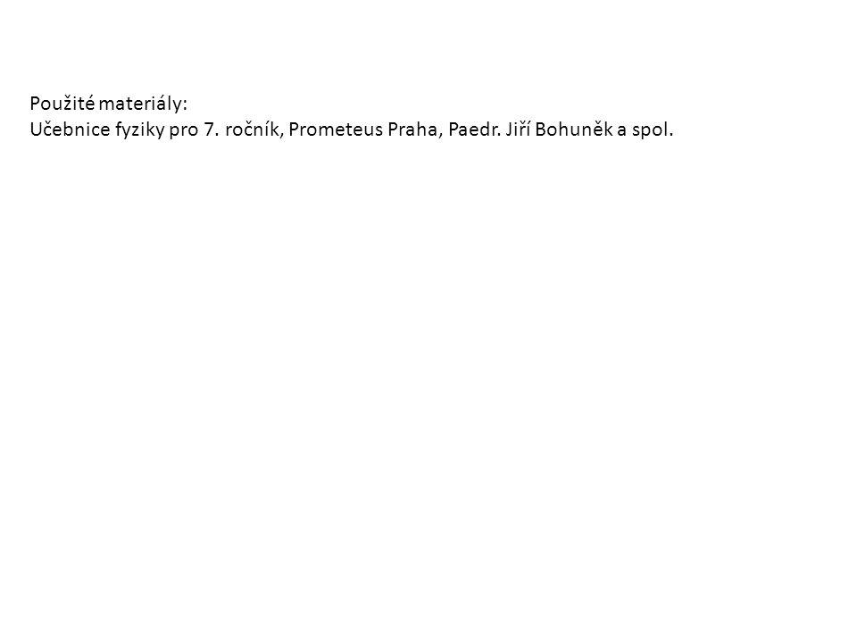 Použité materiály: Učebnice fyziky pro 7. ročník, Prometeus Praha, Paedr. Jiří Bohuněk a spol.