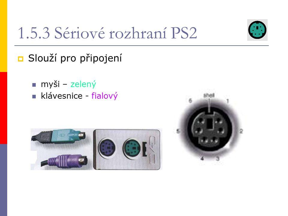 1.5.4 Univerzální sériová sběrnice (USB)  sériová data jdou po 1 b  umožňuje připojení zařízení za chodu PC  je schopna napájet  pro její činnost je nutný procesor host-slave  2 základní typy konektorů  Max počet zařízení - 127