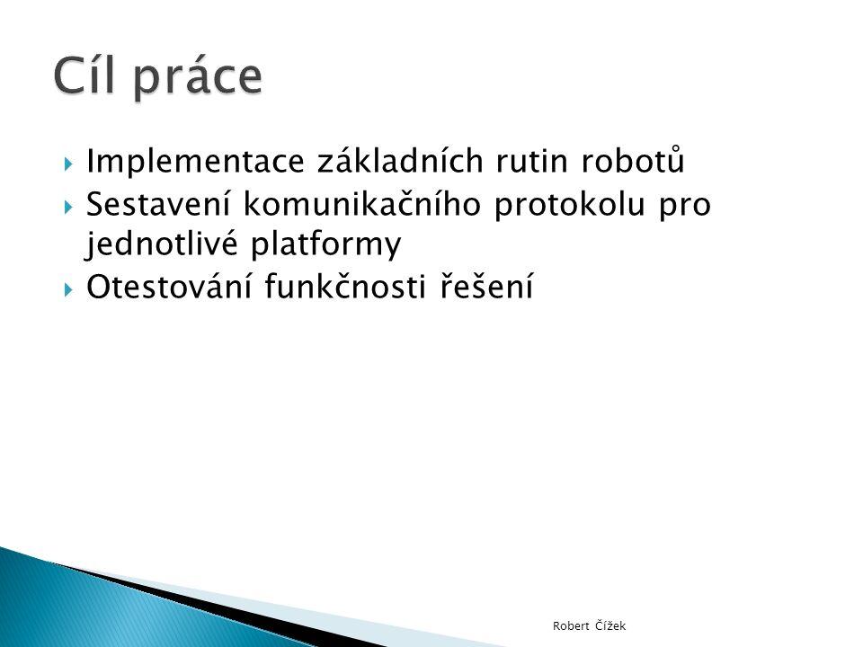  Implementace základních rutin robotů  Sestavení komunikačního protokolu pro jednotlivé platformy  Otestování funkčnosti řešení Robert Čížek
