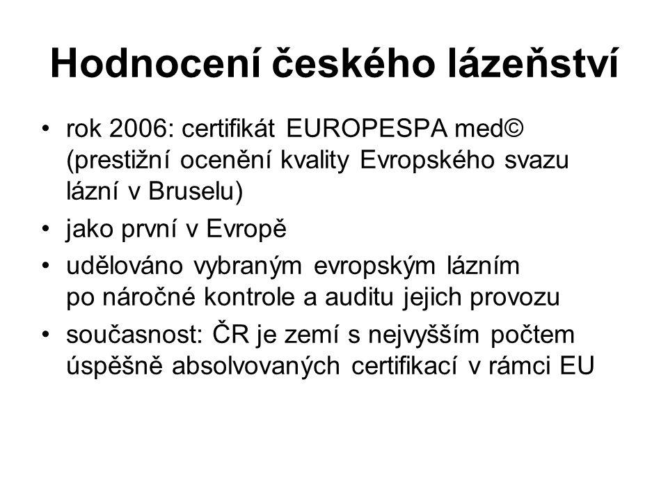 Hodnocení českého lázeňství rok 2006: certifikát EUROPESPA med© (prestižní ocenění kvality Evropského svazu lázní v Bruselu) jako první v Evropě udělováno vybraným evropským lázním po náročné kontrole a auditu jejich provozu současnost: ČR je zemí s nejvyšším počtem úspěšně absolvovaných certifikací v rámci EU