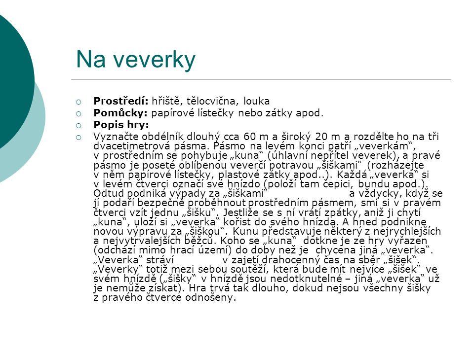 Na veverky  Prostředí: hřiště, tělocvična, louka  Pomůcky: papírové lístečky nebo zátky apod.