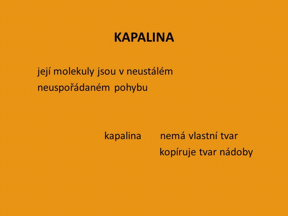 Škola: Základní škola Trávníky Otrokovice, příspěvková organizace Číslo projektu: CZ.1.07/1.4.00/21.2637 Název výukového materiálu: VLASTNOSTI KAPALIN, POVRCHOVÉ NAPĚTÍ KAPALIN Autor: Ing.
