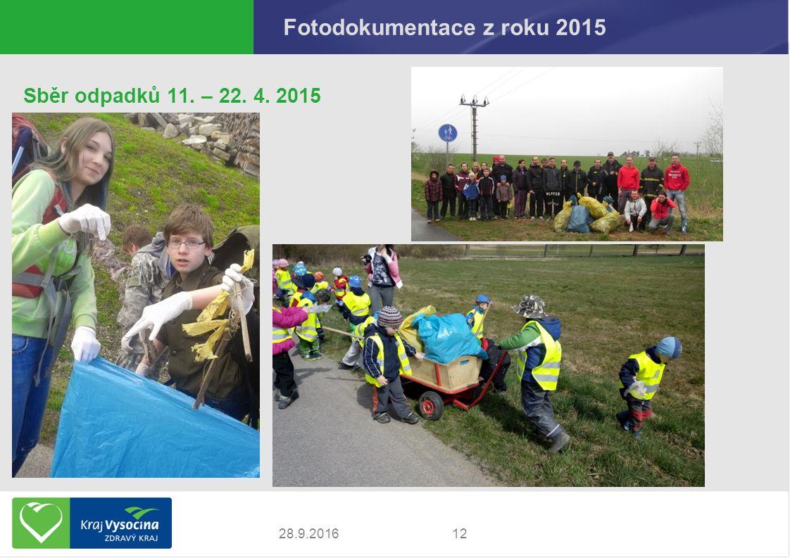 Fotodokumentace z roku 2015 Sběr odpadků 11. – 22. 4. 2015 1228.9.2016