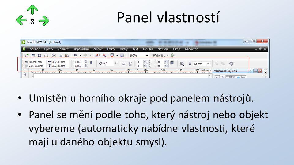 Umístěn u horního okraje pod panelem nástrojů. Panel se mění podle toho, který nástroj nebo objekt vybereme (automaticky nabídne vlastnosti, které maj