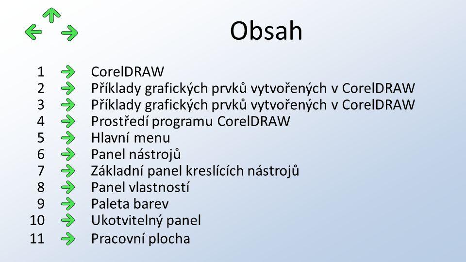 Obsah CorelDRAW1 Příklady grafických prvků vytvořených v CorelDRAW2 3 Prostředí programu CorelDRAW4 Hlavní menu5 Panel nástrojů6 Základní panel kreslí