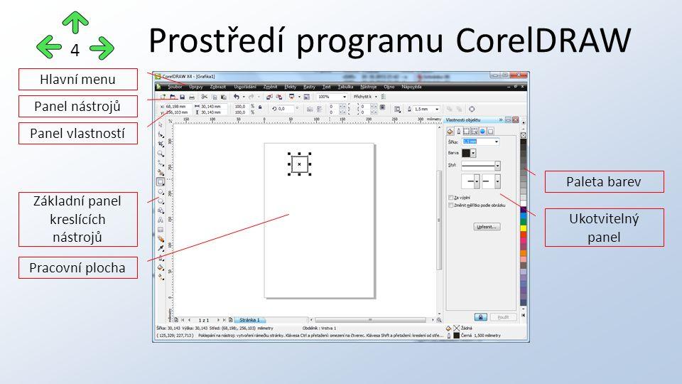 Prostředí programu CorelDRAW 4 Hlavní menu Panel nástrojů Panel vlastností Základní panel kreslících nástrojů Pracovní plocha Paleta barev Ukotvitelný
