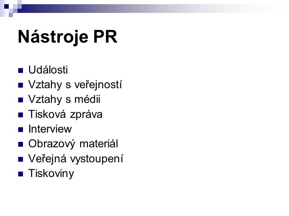 Nástroje PR Události Vztahy s veřejností Vztahy s médii Tisková zpráva Interview Obrazový materiál Veřejná vystoupení Tiskoviny