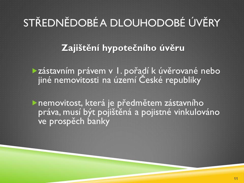 STŘEDNĚDOBÉ A DLOUHODOBÉ ÚVĚRY Zajištění hypotečního úvěru  zástavním právem v 1. pořadí k úvěrované nebo jiné nemovitosti na území České republiky 