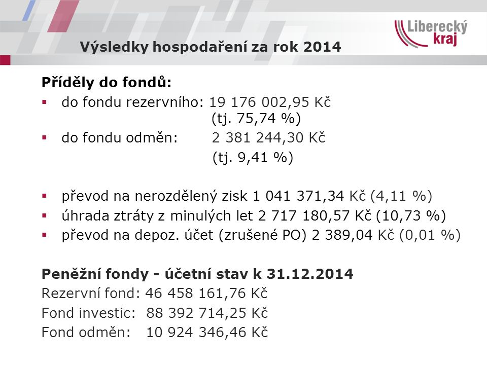 Výsledky hospodaření za rok 2014 Příděly do fondů:  do fondu rezervního: 19 176 002,95 Kč (tj. 75,74 %)  do fondu odměn: 2 381 244,30 Kč (tj. 9,41 %