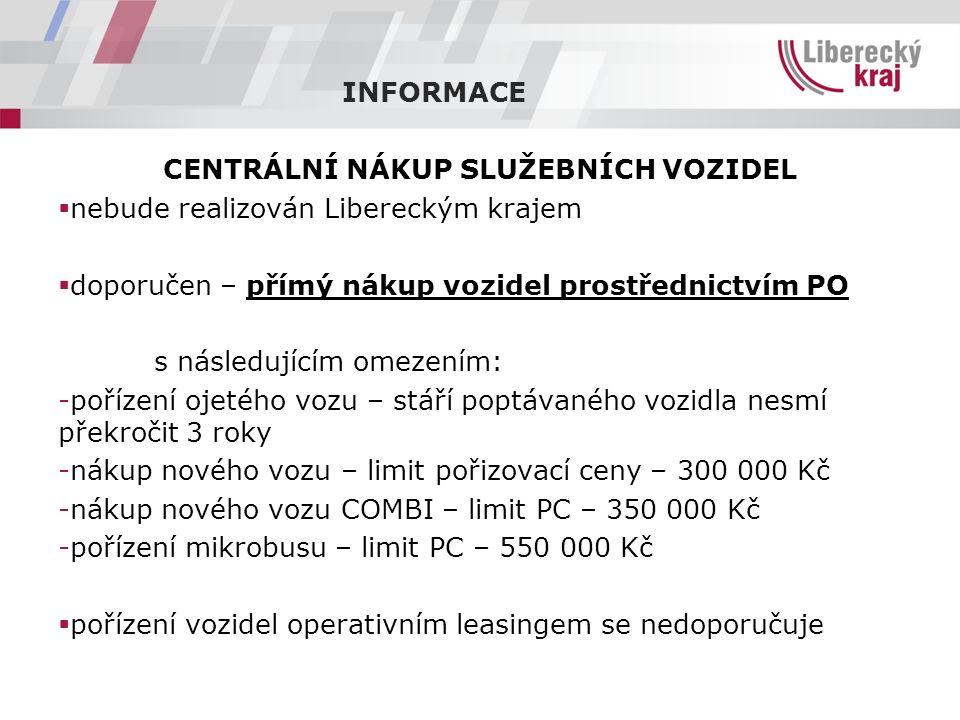 INFORMACE CENTRÁLNÍ NÁKUP SLUŽEBNÍCH VOZIDEL  nebude realizován Libereckým krajem  doporučen – přímý nákup vozidel prostřednictvím PO s následujícím omezením: -pořízení ojetého vozu – stáří poptávaného vozidla nesmí překročit 3 roky -nákup nového vozu – limit pořizovací ceny – 300 000 Kč -nákup nového vozu COMBI – limit PC – 350 000 Kč -pořízení mikrobusu – limit PC – 550 000 Kč  pořízení vozidel operativním leasingem se nedoporučuje