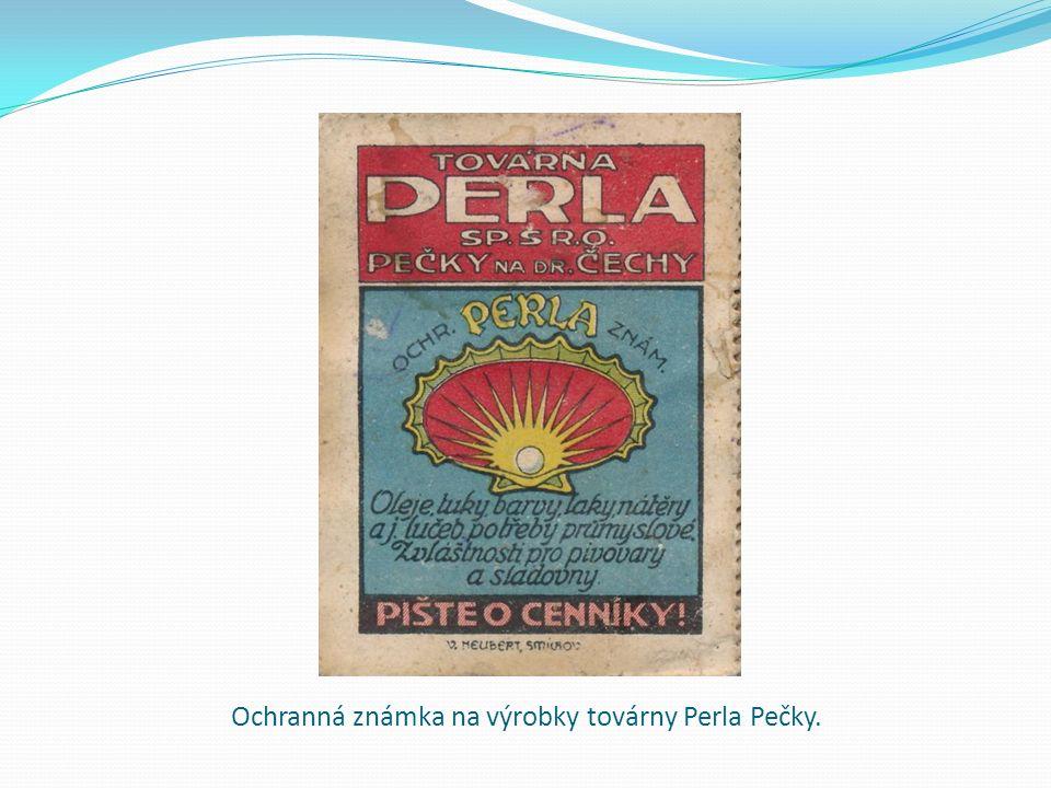 Ochranná známka na výrobky továrny Perla Pečky.
