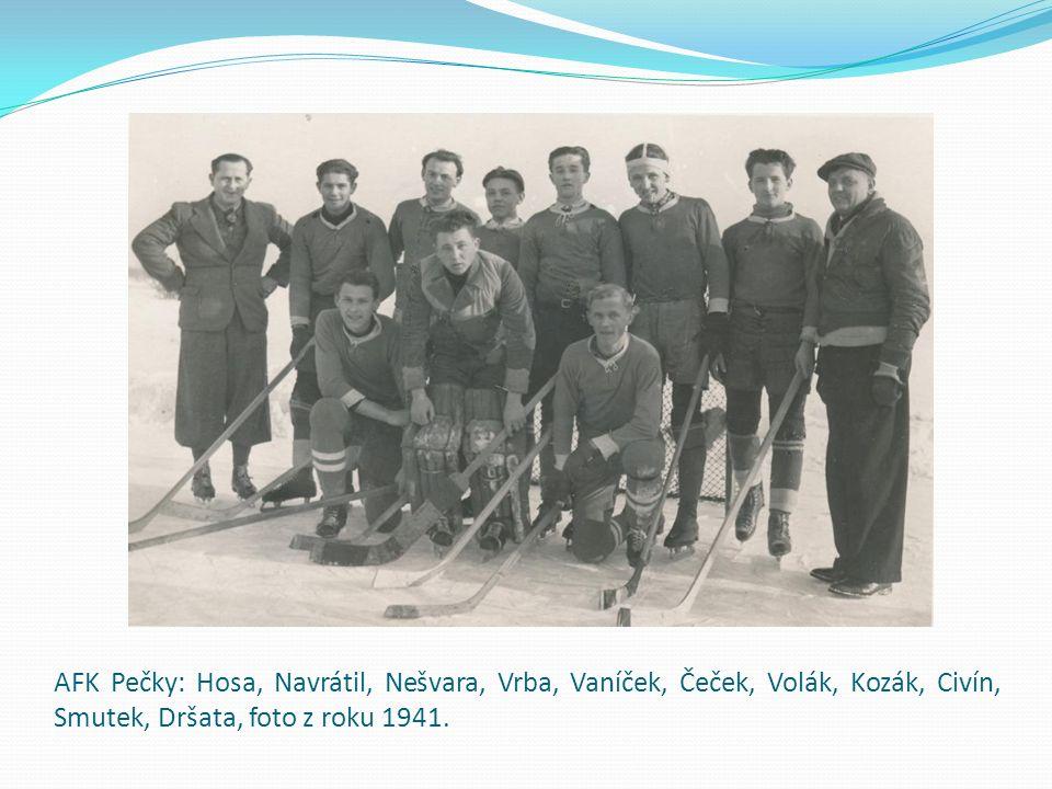 AFK Pečky: Hosa, Navrátil, Nešvara, Vrba, Vaníček, Čeček, Volák, Kozák, Civín, Smutek, Dršata, foto z roku 1941.