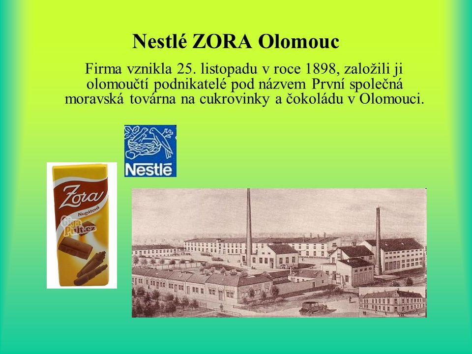 Nestlé ZORA Olomouc Firma vznikla 25. listopadu v roce 1898, založili ji olomoučtí podnikatelé pod názvem První společná moravská továrna na cukrovink